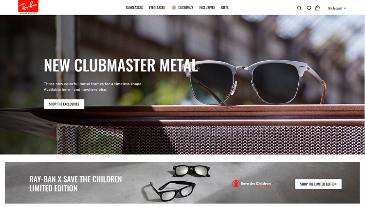 The famous Ray Ban brand's website